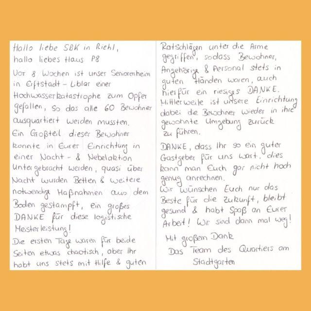 Mitte Juli hatten die SBK 58 Bewohner*innen und die Mitarbeiter*innen zweier, aufgrund der Flutkatastrophe evakuierten, Pflegeeinrichtungen aufgenommen. Vergangene Woche konnten diese in ihre angestammten Häuser zurückkehren und die Mitarbeiter*innen der Münch Stift APZ GmbH haben sich von ihren Kolleg*innen mit freundlichen Worten verabschiedet.   #kollegen #kolleginnen #solidarität #hochwasser #flutkatastrophe #erftstadt #alltagshelden #heldendesalltags #systemrelevant #pflege #pflegefachkraft #pflegefachfrau #pflegefachmann #pflegefachassistentin #pflegefachassistent #krankenpflege #pflegekräfte #pflegenotstand #altenpflege #altenpfleger #altenpflegerin #sozialebetreuung #altenheim #seniorenheim #seniorenzentrum #sbkköln #sozialbetriebeköln #sbkakademie #köln #kommpflege